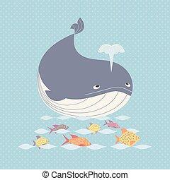Cute whale icon.1 - Blue whale icon. Cute cartoon sign....