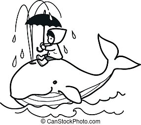 Cute whale swims in ocean spouting water, carrying on its back little girl in raincoat with umbrella vector cartoon hand drawn doodle illustration. Animals, baby and children decor, coloring book page