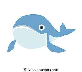 Cute whale. Vector illustration, isolated on white.