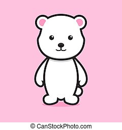 cute white bear cartoon character with smile face