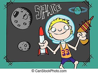 cute white boy playing astronaut funny cartoon