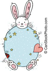 Cute white bunny with a round blue background