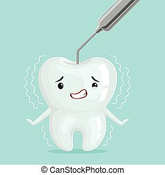 Cute white cartoon tooth character with dentist tool, childrens dentistry, dental care concept vector Illustration