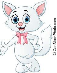 Cute white cat cartoon