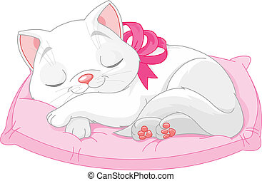 Illustration of cute white cat with pink bow seeping on pillow