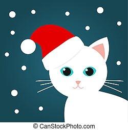 Cute white cat in Santa Claus hat