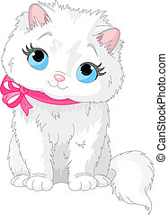 Cute white cat - Illustration of fluffy white Cat with pink...