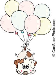 Cute white dog flying with balloons