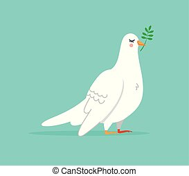 Isolated white dove illustration, cute bird animal in hand drawn style for peace and happiness. EPS10 vector.