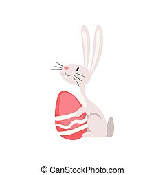 Cute White Easter Bunny Sitting with Red Egg, Funny Rabbit Cartoon Character Vector Illustration