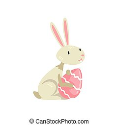 Cute White Easter Bunny with Colored Egg, Funny Rabbit Cartoon Character Vector Illustration