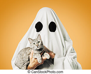Cute white ghost with a cat on a yellow background.