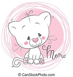 Cute White Kitten on a pink background