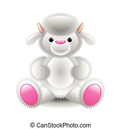 Cute white lamb soft toy isolated on white vector...