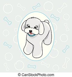 Cute white puppy on a blue background. Scrapbook for boy