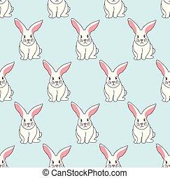 White Rabbit on Blue Mint Background