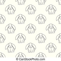 Cute White Rabbit Seamless Background.