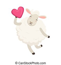 Cute white sheep character having fun with pink heart, funny humanized animal vector Illustration