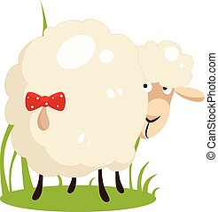 Cute White Sheep With A Bow on Tail. Flat Design Vector Illustration