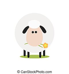 Cute White Sheep With A Flower