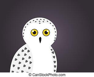 Cute white snowy owl portrait on dark night background