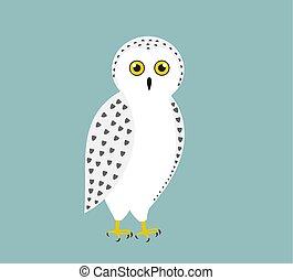 Cute white snowy owl.