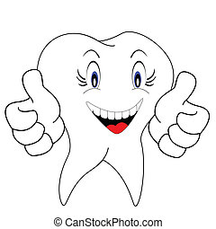 white teeth - cute white teeth vector of illustration
