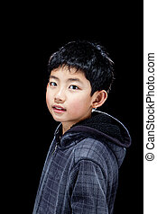 Cute Wide-Eyed Asian Boy in Sweater Isolated on Black Blackground