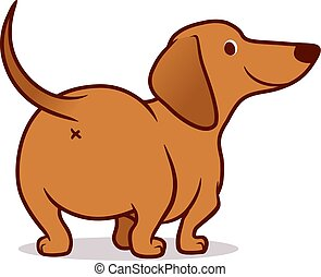 Cute wiener sausage dog vector cartoon illustration isolated on white. Simple drawing of friendly tan dachshund puppy, rear view. Funny doxie butt, dog lovers, pets, animals theme.
