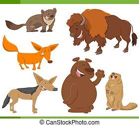 cute wild animal characters set - Cartoon Illustration of...