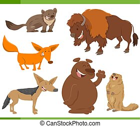 cute wild animal characters set - Cartoon Illustration of...