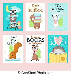 Cute wild animals reading books vector card set