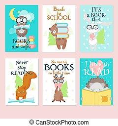 Cute wild animals reading books vector card set