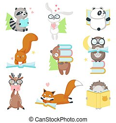 Cute wild animals reading books vector icon set