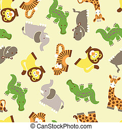 Cute wild animals seamless pattern