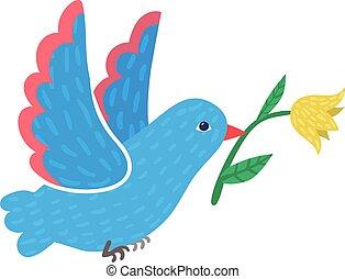 Cute wild blue pigeon carry spring yellow flower, bird flying hold beak blossom isolated on white, flat vector illustration. Design springtime mood.