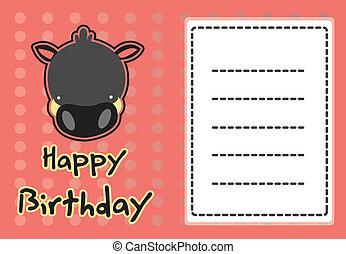 cute wild boar birthday card