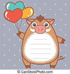 cute wild boar of scrapbook background.
