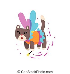 Cute winged cat with a magic wand, fantasy fairy tale animal cartoon character vector Illustration