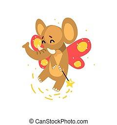 Cute winged elephant with a magic wand, fantasy fairy tale animal cartoon character vector Illustration