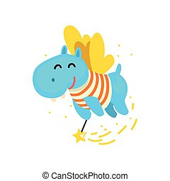 Cute winged hippo flying with a magic wand, fantasy fairy tale animal cartoon character vector Illustration