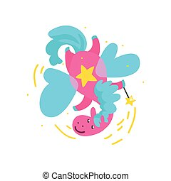 Cute winged pink horse flying with a magic wand, fantasy fairy tale animal cartoon character vector Illustration