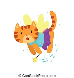 Cute winged red cat with a magic wand, fantasy fairy tale animal cartoon character vector Illustration