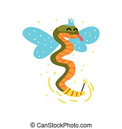 Cute winged snake with a magic wand, fantasy fairy tale animal cartoon character vector Illustration