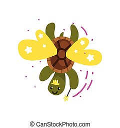 Cute winged turtle with a magic wand, fantasy fairy tale animal cartoon character vector Illustration