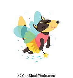 Cute winged wolf flying with a magic wand, fantasy fairy tale animal cartoon character vector Illustration