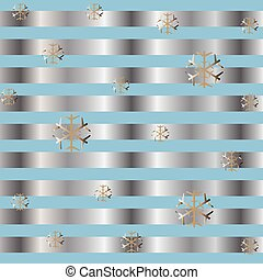 Cute Winter Background with golden snowflakes and silver stripes.