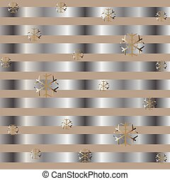 Cute Winter Background with golden snowflakes and silver stripes
