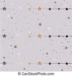 Cute Winter Background with golden stars and stripes.