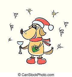 Cute winter card with dog in red hat, scarf